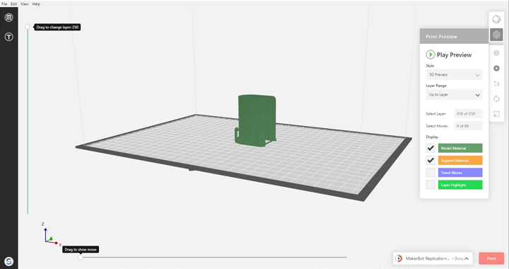 makerbot replicator+ print without raft